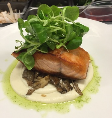 Verlasso Salmon, forged chanterelles, celeriac puree, mache, and chive oil