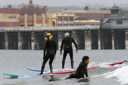 Mayo, surfing for the first time in 62 years, with Richard Schmidt
